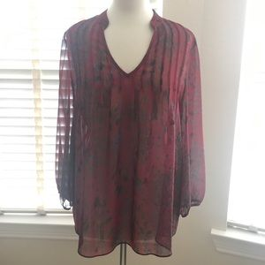 Pleione Red Floral Patterned Blouse Long Sleeve